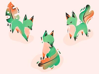 Little leafy fox digital painting grain digital drawing drawing digital art procreate texture orange green leaf foxes illustration
