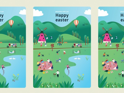 Easter card design | PLEO card colorful vector ui design flat illustrator illustration ill