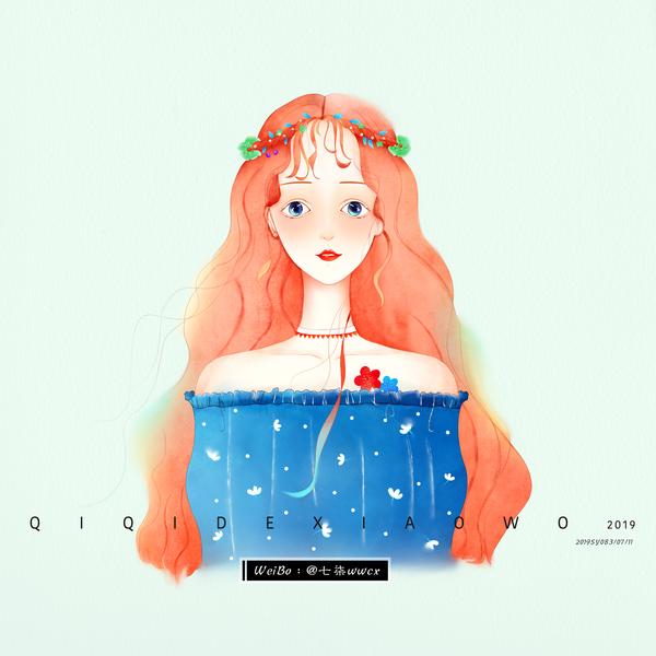 Girl Head 文艺 夏天 水彩 插画 小清新 板绘 设计 插图
