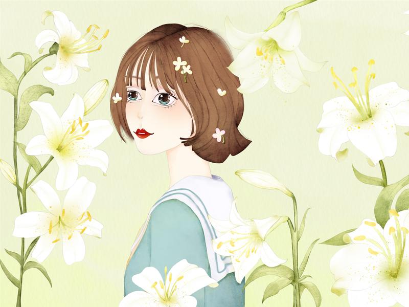 Girl Head 百合 花 壁纸 手绘 小清新 文艺 插画 少女 板绘 水彩 设计 插图