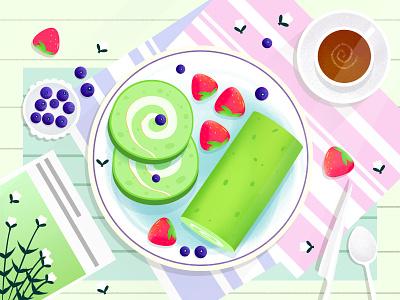 Breakfast 早餐 甜品 蛋糕 水果 食物 ui 插画 少女 小清新 设计 插图