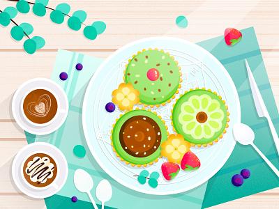 Afternoon tea 食物 蛋糕 水果 咖啡 下午茶 夏天 插画 少女 小清新 板绘 设计 插图