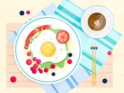 Breakfast 清新 文艺 手绘 水果 番茄 咖啡 火腿 鸡蛋 食物 夏天 小清新 水彩 板绘 设计 插图