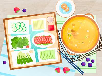 Hot Pot 水果 青菜 鸡汤 火锅 食物 夏天 小清新 水彩 插画 设计 板绘 插图
