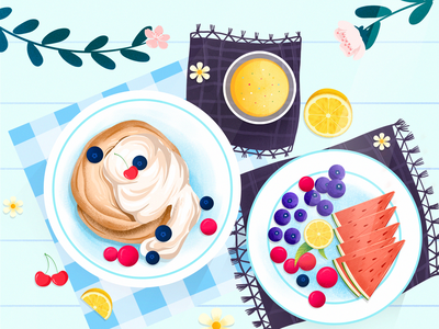 Breakfast 餐桌 面包 饮料 夏天 水果 食物 早餐 下午茶 板绘 少女 文艺 小清新 插画 设计 插图