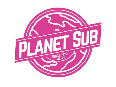 Planet Sub of Wichita, Kansas wichita branding kansas signage food american restaurant sign logo vector design
