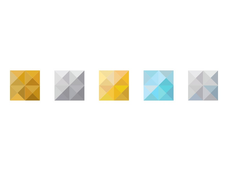Color studies gems tiers angles boxes studies isometric diamonds icons color