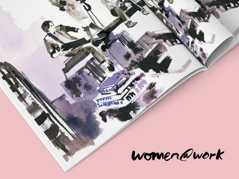 Women@Work sneak peak illustration visual design branding book print women