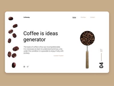 Website about coffee coffee bean coffeeshop minimal light concept minimalism coffee webdesign website web designer design