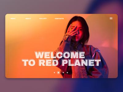 Welcome to Red Planet (in my design) girl homepage purple orange woman minimalism ui webdesign design
