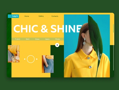 Homepage for a clothing store colors cool green web homepage yellow bright shine chic fashion style clothing design shop designer ui webdesign design