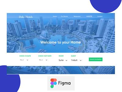 Dekko Hotel Website Template type figma branding adobexd minimalist template design template uidesign design website