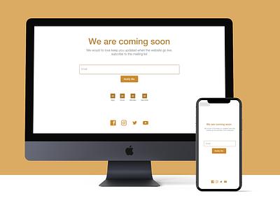 Ecommerce coming soon page ecommerce design ecommerce e-commerce branding shopping app fashion figma app adobe illustrator design uidesign website