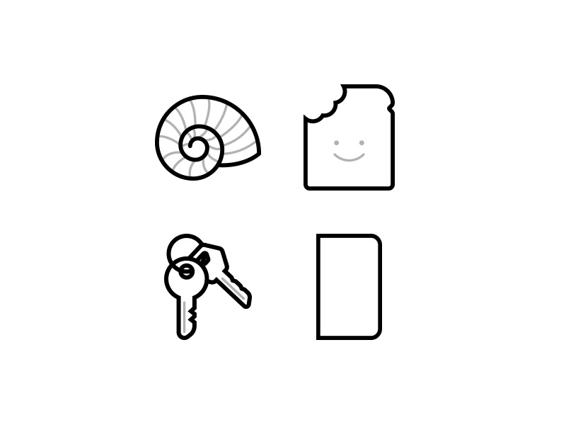 Icon set for an upcoming landing page nautilus keys bread golden ratio vector