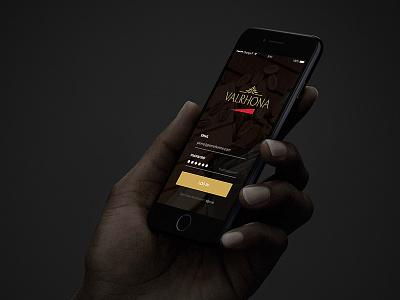 Valrhona Mobile App - Preview user interface login screen premium dark valrhona app ios clean sketch ui login design