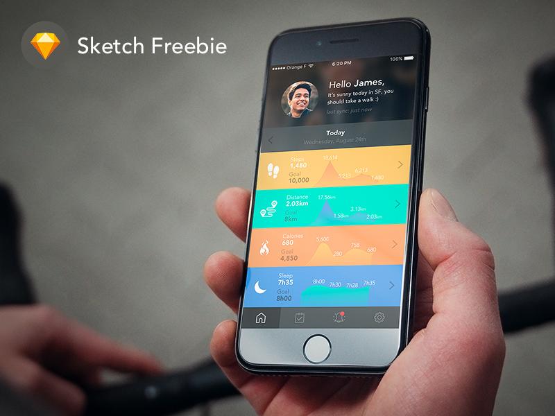 Sketch FREEBIE: iPhone 7 – Fitness App –Home Screen