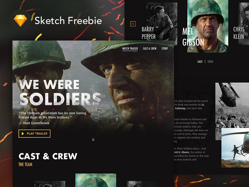 Sketch FREEBIE: Movie Landing Page - We Were Soldiers website war user interface ui we were soldiers movie webdesign landing page freebie free sketch