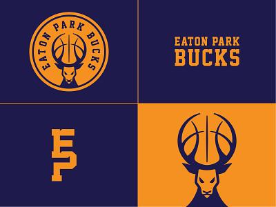 Eaton Park Bucks Brand assets minimal bucks deer sport baseball mascot illustration identity logo branding design