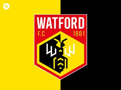 Watford F.C Badge illustration badge soccer minimal watford isometric football premier league hornets hornet vector design logo branding