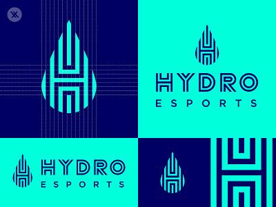 Hydro Esports Branding blue hydro water drop minimal icon identity esport vector esports logo design branding