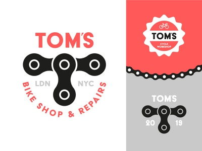 Tom's Bike Shop and Repairs bycicle cycling bike toms tom mascot minimal identity icon illustration logo vector design branding