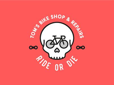 Tom's Bike Shop and Repair ride toms tom skull bike mascot logo mascot minimal identity illustration vector logo design branding