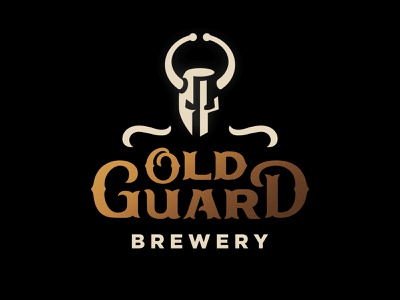 Old Guard Brewery knight brewery beer icon illustration identity vector logo design branding