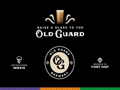 Old Guard Brewery brand elements knight brewery beer identity illustration vector logo design branding