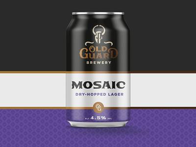 Old Guard Brewery Mosaic brewery beer beer can minimal vector logo design branding