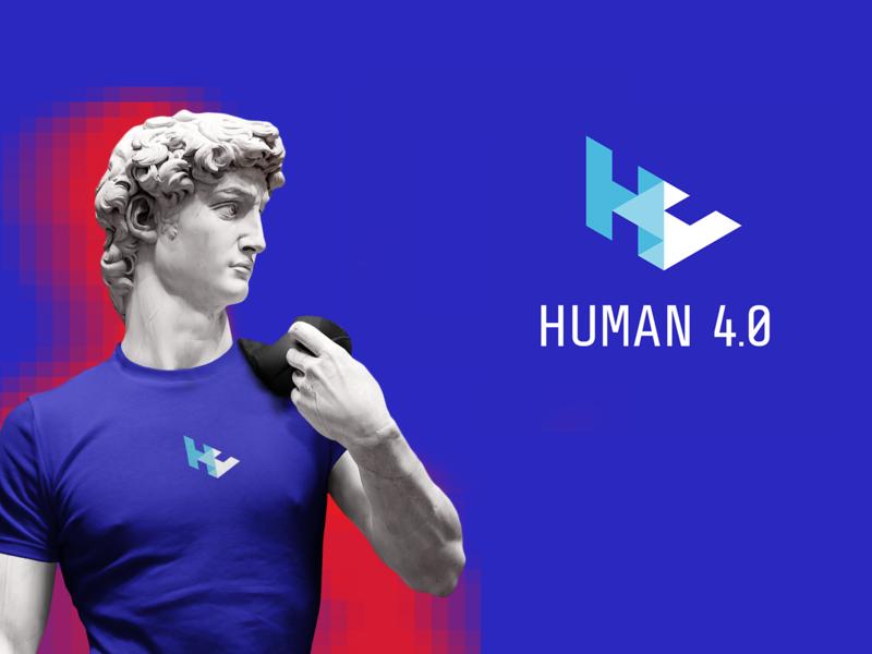 Logo HUMAN 4.0 identity branding human blue minimalist logotype