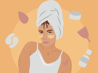 beauty rutine morning routine beauty art flat character woman vector illustration girl illustration design vector