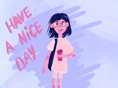 Morning girl lifestyle illustration morning coffee girl character