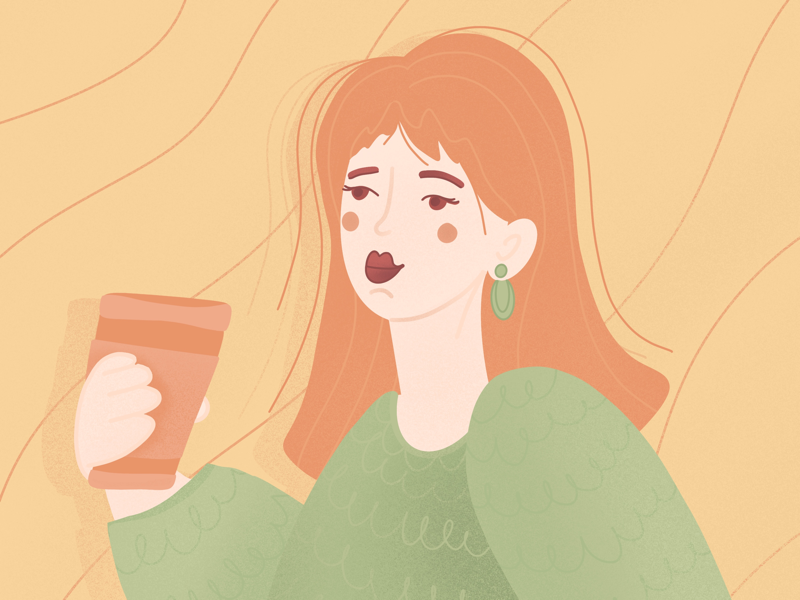 Morning coffee hairs lines morning coffee illustration woman girl