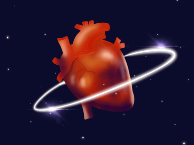 Space heart anatomical illustration universe space heart