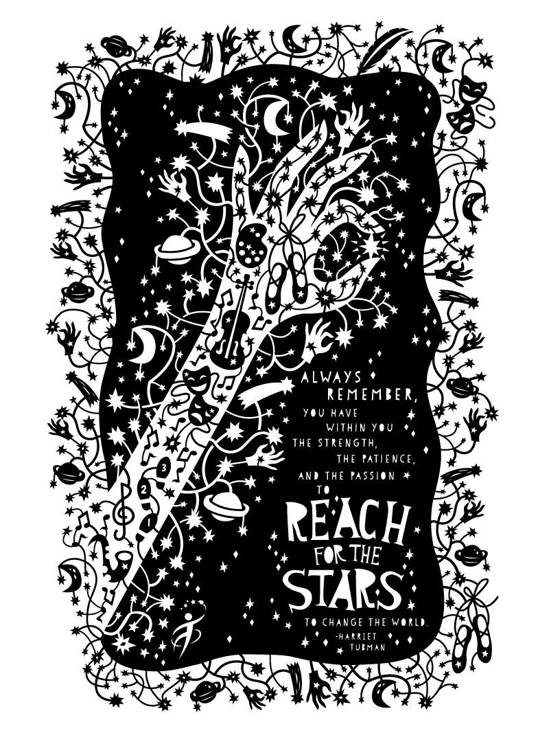 Dribbble - spring-stars-papercut-poster-full jpg by Caitlin