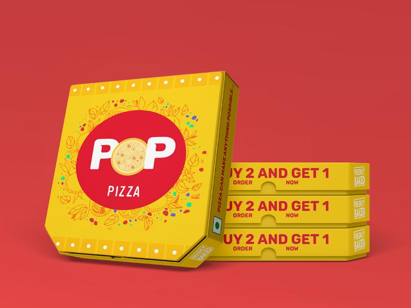 Pop Pizza flat logo vector branding design package design branding design typogaphy logo design colors brand identity