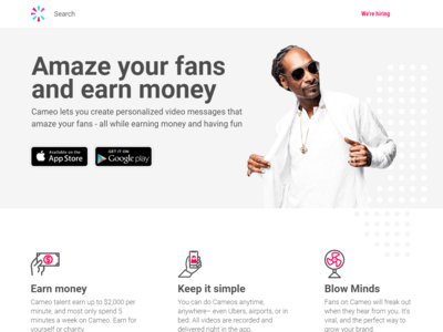Landing Page for Cameo