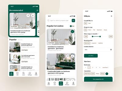 Real estate app minimal ux design debutshot elegant green app realestate