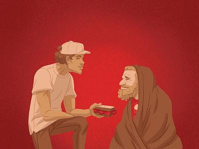 Agape cartoon drawing illustration food homeless nonprofit charity sandwich caring care love agape