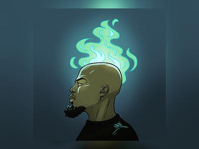 Ego rapper mc hip hop rap single hot music album inferno flame illustration black african american anime fire