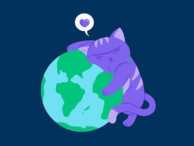 What The World Needs Now... coronavirus earth mascot planet world globe kiss hugs hug love cats kitten cat design drawing comic character design cartoon illustration