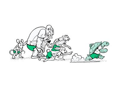 Endurance ink half tone bunny rabbit turtle endurance cross country race cheetah mouse gorillaz gorilla tortoise hare design drawing comic character design cartoon illustration
