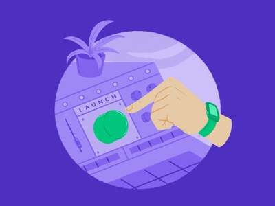 Casted Illustrations - Activate keyboard computer switches dials flat illustration hand watch switchboard plant launch button console branding ui design drawing comic character design cartoon illustration