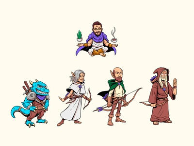 Casted Dungeons and Dragons coffee sword bow arrow dungeon dungeons and dragons sorcerer monk ranger archer dungeon master dragonborn dragon elf design drawing comic character design cartoon illustration