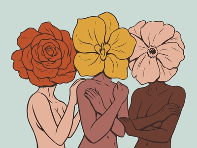 Flower Ladies mother earth ladies lady floral plant daisy tulip rose mature growth elegant girls girl women woman flowers flower illustration drawing character design