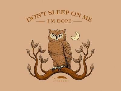 Don't Sleep On Me noise evening night sky feather feathers leaves distressed halftones bird tree moon tshirt design tshirt owls owl branding design drawing illustration