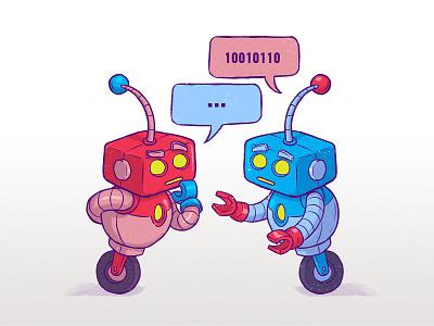 Chatbots droid android tech programmer metal mech code word bubble cute comic cartoon illustration chat bot talk robot
