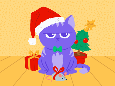 Podcat Loves Christmas. illustration grumpy present bow evergreen bow tie elf ornament mouse toy tree santa kitten cat winter holidays holiday xmas christmas