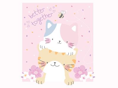 Better Together Kittens surface design baby cats kittens vector illustration flat design