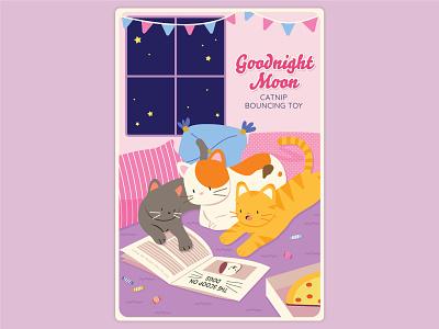 Goodnight Moon cats surface design packaging vector illustration flat design